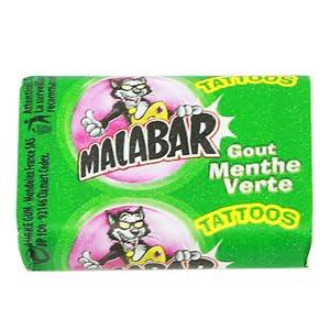 chewing gum malabar menthe verte tattoo
