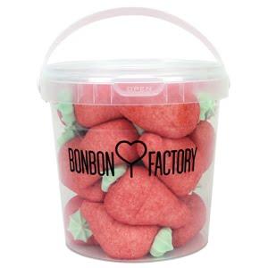 seau grosse fraise guimauve rouge bonbon factory