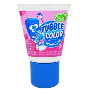 Vignette tubble color framboise chewing gum colore la langue lutti