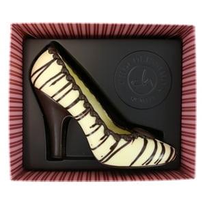vignette presentation produit escarpins en chocolat blanc chocolat belge idee cadeau fashion