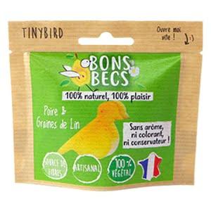 Bonbecs vegan en forme d'oiseau aux goûts naturels de poire et de graine de lin